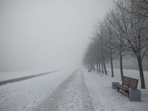 Winter Street with benches Royalty Free Stock Photos