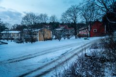 Winter street in Bromma, Stockholm, January 2018 stock images