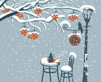 Winter street cafe under Rowan tree with lamppost. Vector winter landscape with snow-covered branches and red clusters of a rowan tree and open-air cafe with Stock Photos