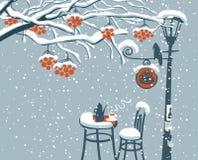 Winter street cafe under Rowan tree with lamppost Stock Photos