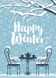 Winter street cafe under tree with inscription. Vector winter banner with inscription Happy winter, snow-covered tree and open-air cafe with hot tea on the table Royalty Free Stock Photos