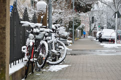 Winter street of the German city Konstanz Stock Image