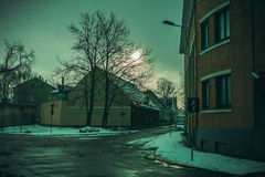 Winter. Street. houses. RnSnowy street. Winter in Latvia Stock Images