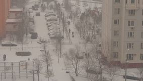 Winter Street life in a Dormitory Area in Moscow. stock video