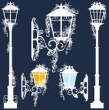 Winter street light set Royalty Free Stock Image