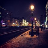 Winter street in the night Royalty Free Stock Photos
