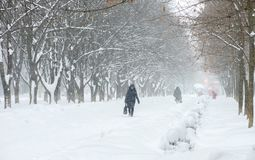 Winter street, people can hardly move. A lot of snow on the sidewalks. stock photo