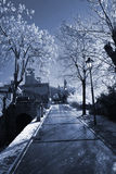 Winter street in San Marino. San Marino. Winter street of San Marino. Monte Titano. Photo in blue tones stock photo