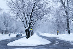 Winter in the street. Winter scence in the street of Sorel-Tracy, Quebec, Canada stock photo