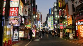 Winter Street Scene in Shinjuku ward stock photos
