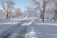 Winter street scene. Snow covered winter street in New York State Royalty Free Stock Photography