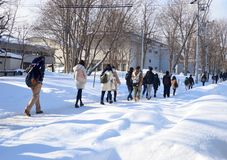 Winter street scene walking on snow. People walking on snow covered the street during winter and heavy snow in Hokkaido, Japan Royalty Free Stock Photos