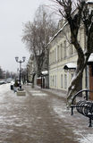 Winter street in small Russian town. Winter street in Zvenigorod small Russian town. Day light stock photography