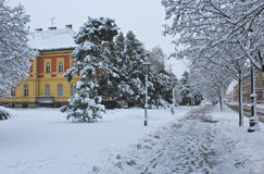 Winter street. The snow-covered street with footprints Royalty Free Stock Image