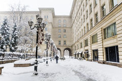 Winter street with vintage lamps in Sofia,Bulgaria.Winter time Royalty Free Stock Images