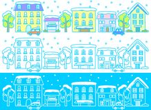 Winter streets. This is an illustration of a cityscape in winter Royalty Free Stock Photo