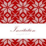 Winter strickte Weihnachtskarte, nordisches Muster, Hintergrundillustration Stockbild