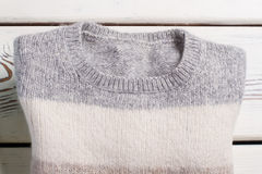 Winter stripy wool sweater. Royalty Free Stock Images