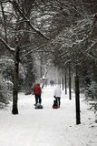 Winter stroll in a heavy fall of snow Royalty Free Stock Image