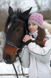 Winter stroll with horse Stock Photography