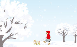 Winter stroll, Red coat girl with puppy Royalty Free Stock Photo