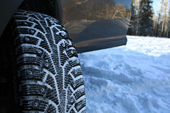 Winter studded tires Stock Images
