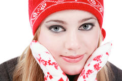 Winter style. Beautiful young girl with grey smoky eyes in winter clothes Royalty Free Stock Photography