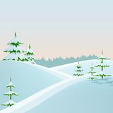Winter styled landscape with fir trees. And forest. Vector illustration Royalty Free Stock Image