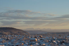 Winter suburb on a background of hills and mountains. Russia, winter, Caucasus, Adygea Stock Images