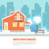 Winter suburb horizontal banner Flat style Stock Photo