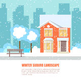 Winter suburb horizontal banner Flat style. Winter suburb landscape with powdered house, trees on snow-covered ground and city background.Vector illustration Stock Photography