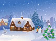 Winter suburb. Illustration of xmas suburbs with kids making a snowman Royalty Free Stock Images