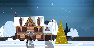 Winter Suburb Town View Snow On Houses With Decorated Pine Tree, Merry Christmas And Happy New Year Concept. Flat Vector Illustration Stock Image