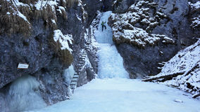 Winter in Sucha Bela gorge , Slovensky raj National park , Slovakia Royalty Free Stock Images