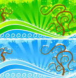Winter and summer. Banners. Stylized landscape - water, wood, landscapes. Two seasons - winter and summer Royalty Free Stock Image