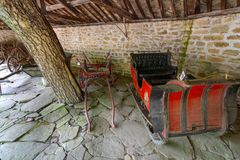 Winter and summer carts in the ethnographic museum of Eter in Bulgaria Royalty Free Stock Photo