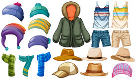 Winter and summer clothes Stock Photos