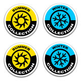 Winter and summer collection stickers Royalty Free Stock Photography
