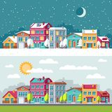 Winter and summer landscape with city houses flat vector illustration royalty free illustration