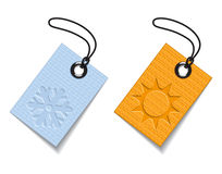 Winter and summer tags Stock Photo