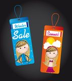 Winter and summer tags Royalty Free Stock Images