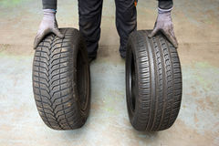 Winter and summer tyre Royalty Free Stock Image