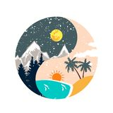 Winter and summer ying yang illustration stock illustration