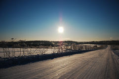 Winter sun. Sunny winter day in the country royalty free stock image