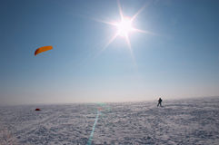 Winter sun. Ski-kiting in the winter sun Stock Images
