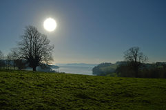 Winter Sun Blue Skies royalty free stock photo