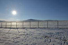 Winter sun natural landscape background snow scene of baikal lake in Russia stock photos