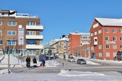 Winter sun over Luleå Stock Image