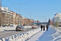 Winter sun over Luleå Royalty Free Stock Photography
