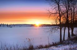 Winter sun set Stock Photos